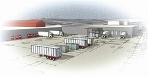 Drawing of shipping containers and trucks